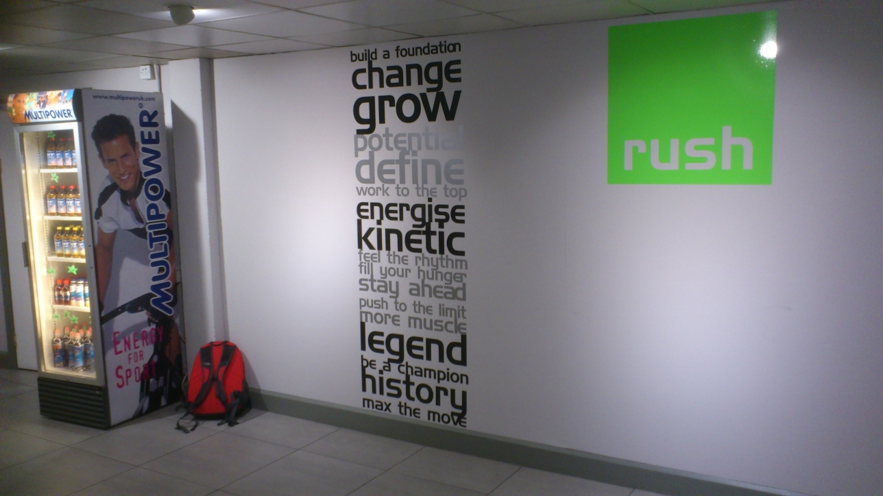 silver and black wall graphics