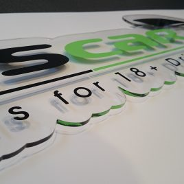 polished acrylic sign
